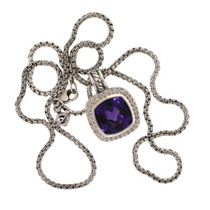 David Yurman Albion Pendant Necklace with Amethyst and Diamonds Hinged Cable Bale