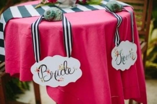 Navy and White Bride & Groom Sign with Striped Ribbon Reception Decoration