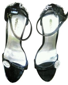 Celeste Rhinestones Strappy Textured Black & Silver Formal