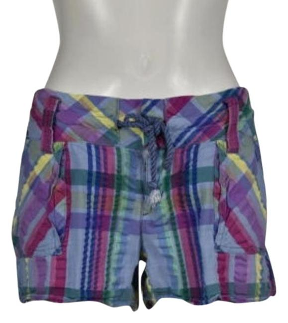 Item - People Womens Purple Plaid Casual Shorts Cotton Cropped Trousers