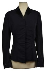Richard Tyler Richard Tyler Womens Black Blazer Silk Long Sleeve Solid Career Jacket