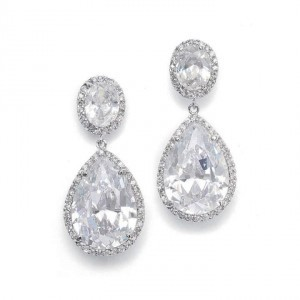 Mariell Silver Rhodium Pear Shape Drop Earrings