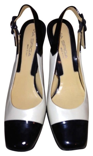 Via Spiga Heel Blackandwhite Easy To Walk In Leather Made In Italy Black and White Pumps
