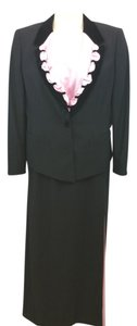 Escada ESCADA COUTURE CONTRAST 3-PC. COCKTAIL BLACK SKIRT SUIT 42