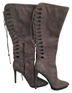 B Brian Atwood Suede Sexy Grey Boots