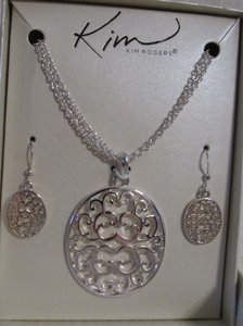Kim Rogers Double chain cutout medallion necklace and drop earring set