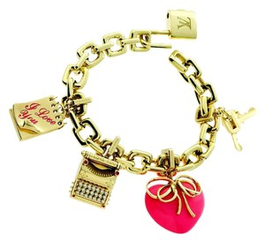 Louis Vuitton Louis Vuitton Charm Padlock Diamond Gold Bracelet 18k