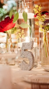 Silver Sequin Table Numbers