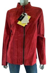 Denim & Co. Leather Suede Women red. black Leather Jacket