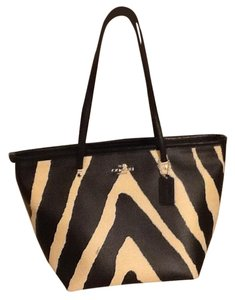 Coach Leather Taxi Tote in Black zebra