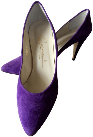 Caressa Bold Color Super Comfortable Suede Leather PURPLE Pumps Image 0