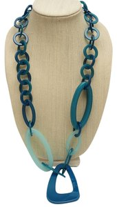 Alisha D. Modern Link Necklace in Teal Blue Made in Italy