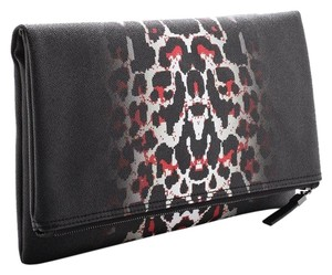 MCQ by Alexander McQueen Color: White Leopard Pixel Leopard Leopard Black Flap Over Black Leopard Clutch