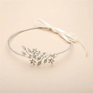 Mariell Baby Pearl Floral Sprigs Hand-made Designer Headband 4445hb-s-i