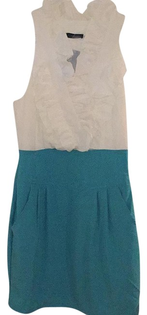 Preload https://img-static.tradesy.com/item/18220678/white-and-blue-knee-length-workoffice-dress-size-4-s-0-1-650-650.jpg