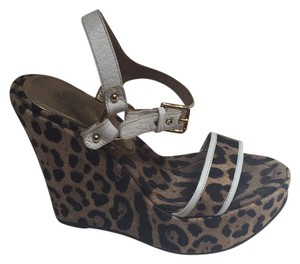 Dolce&Gabbana Leopard with white leather trim Wedges