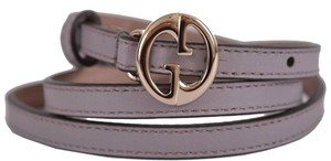 Gucci Gucci Women's 362731 Lilac Leather Interlocking GG Buckle Skinny Belt 32 80 New
