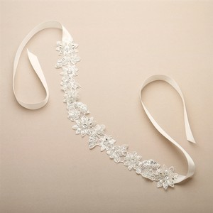 Mariell European Lace Floral Bridal Headband With Genuine Preciosa Crystals And Seeds 4454hb-i