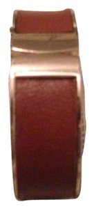 Banana Republic Banana Republic Brown Leather Gunmetal Hinge Cuff Bracelet