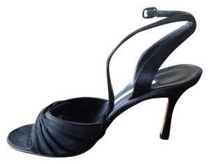 Manolo Blahnik Peep Toe Stiletto Satin Strappy Black Black Satin Sandals