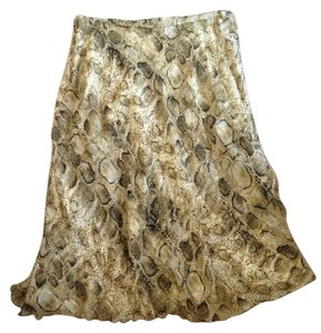 Talbots Silk Skirt Snakeskin Green