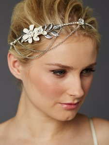 Mariell Hand-enameled Floral Headband Crown With Preciosa Crystal Drapes 4446hb-i-s