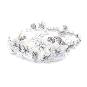 Mariell Silver Enchanting Side Design Tiara Headband with Organza 4385hb-i-s Hair Accessory