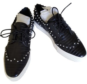Ash Studded Leather Platform Sneakers Black Athletic
