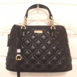 Kate Spade Quilted Cross Body Handbag Tote Satchel in Black Gold