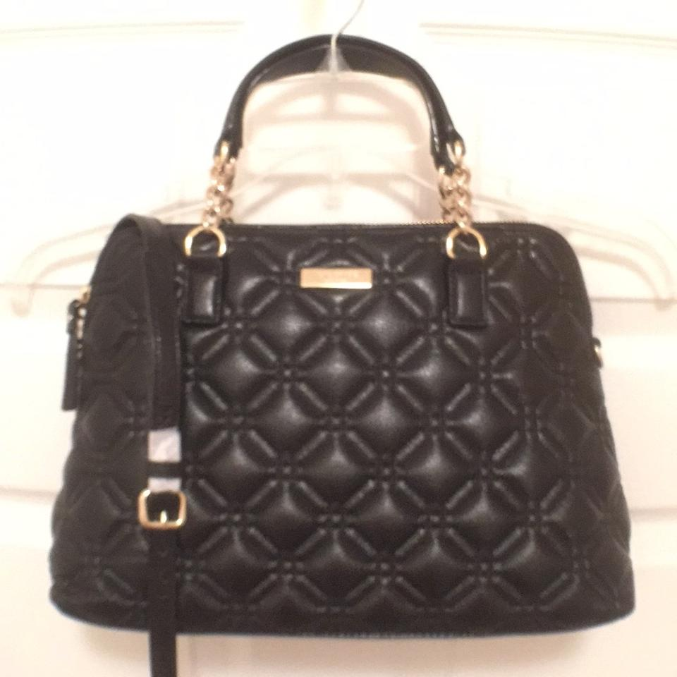 Kate Spade Black Gold Leather New Quilted Astor Court Small ... : quilted kate spade handbag - Adamdwight.com