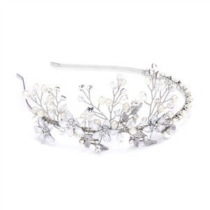 Mariell Freshwater Pearl And Silver Petals Side Motif Headband 4379t-s