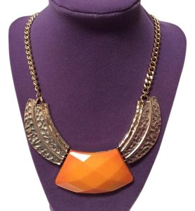 Orange and Goldtone statement Necklace