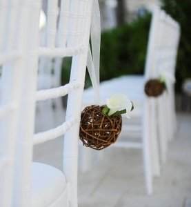 Michaels Brown Twine/Twig Kissing Balls with Ivory Ribbon Ceremony Decoration