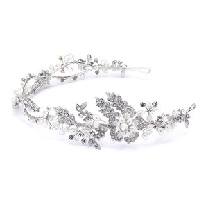 Mariell Wavy Bridal Headband With Crystal And Pearl Garden 4381hb-sc-s