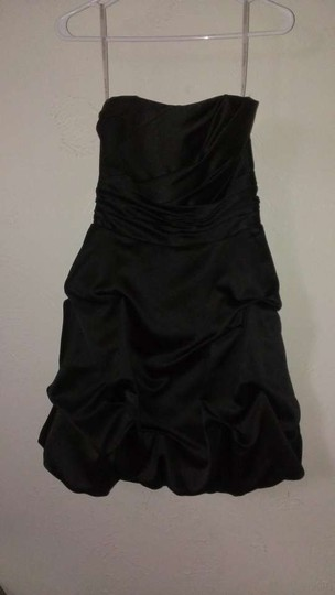 David's Bridal Black Satin 84091 Sexy Bridesmaid/Mob Dress Size 2 (XS)