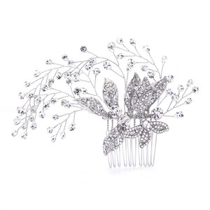 Mariell Bridal Hair Comb With Pave Flowers And Crystal Sprays 4382hc-s