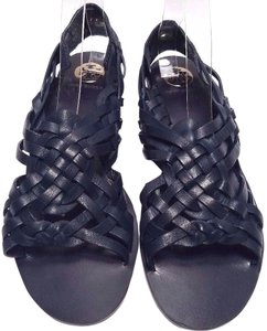 Tory Burch Leather Huarache Navy Blue Sandals