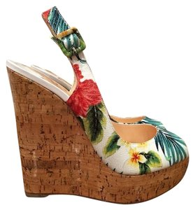 Christian Louboutin Une Plume Floral Hawaiian Wedges