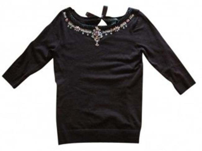 White House | Black Market Classic 3/4 Sleeves Ribbon Sequin Sweater