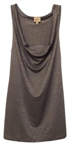 Ella Moss Knit Draped Shelf Bra Top Silver and black