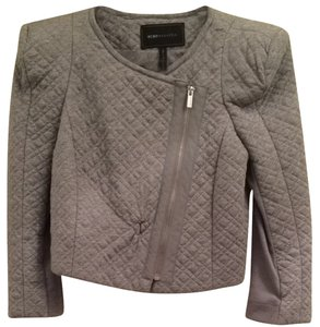 BCBGMAXAZRIA Crop Grey Quilted Designer Fashion Style Padded Heather Grey Jacket