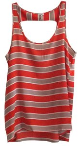 Splendid Top Orange/Coral, White, Tan stripes