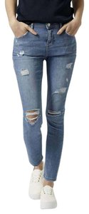 Topshop Skinny Moto Ankle Ripped Skinny Jeans-Distressed