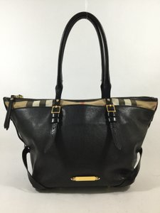 Burberry Leather Shoulder Tote in Black