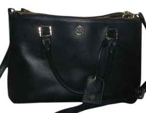 Tory Burch Leather Structured Tote in Black