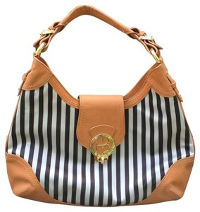 Henri Bendel Medium Tote in Black and white striped tan leather trim