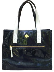 Kate Spade Patent Leather Tote in Navy blue and white