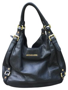 Michael Kors Mk Black Leather Tote in Black/Gold hardware