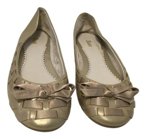 Bass Soft gold leather satin ribbon Flats