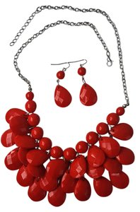Other Red Necklace with matching earrings